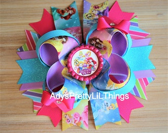 Palace Pets Bow Princess Bow Disney Inspired Bow Bottle Cap Bow Girls Boutique Bow Layered Bow Baby Girls Hair Accessories