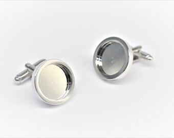 Rhodium Plated Cufflink Blanks, Cufflink craft supplies, Silver cufflink blank, Cufflink Blank