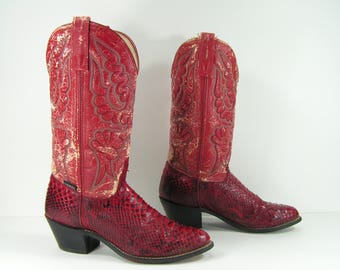 vintage capezio cowboy boots women's 8 M B red snake skin leather cowgirl 1970's