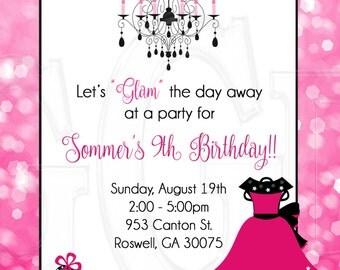 Fashion Invitation Birthday Party-Digital File