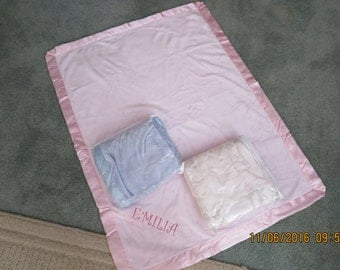 Embroidered Personalized Baby Blanket-Pink-Blue-White-So Soft