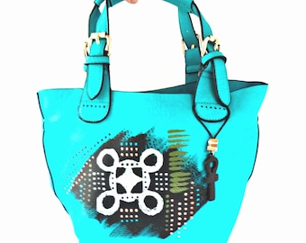 Tribal Immunity Painted Vegan Leather Mini Tote Handbag with Insert ~ Nandi (blue) 2-in-1 Mini Tote