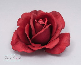 Red Rose Hair Clip. Real Touch Flowers. Christmas, Valentines Day. Caroline Rose Collection