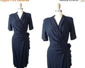 On Sale 1940s Black Rayon Wrap Dress