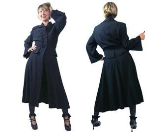 1940s Black Wool Peplum Princess Coat W.E. Walsh and Sons Albany Forstmann Wool