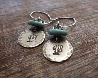 Stamped Cactus Earrings, Sterling Silver Cactus Earrings, Turquoise Silver Earrings, Handmade Silver Jewelry on Etsy by Mary-anne Fountain.