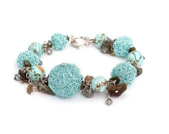 Wire bracelet turquoise stone smoky quartz unique handmade Regina Doseth