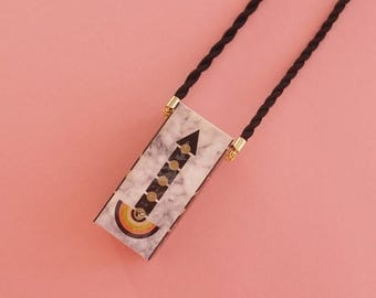 """SALE Geometric Necklace // Art Deco necklace // Statement Necklace // Memphis Modern // Geometric Jewelry // The """"Going Up"""""""