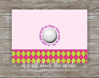 Set of 6 - 5 x 7 FLAT Golf note cards with envelopes-Days that end in Y