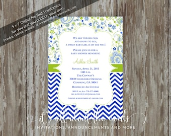 "Baby Shower invitations - Digital file ""Paisley - Blue"" design"