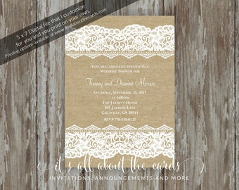"Bridal/Wedding Shower invitations - Digital file ""Burlap and Lace"" design"