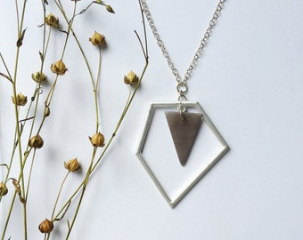 Tagua nut jewelry. Geometric Pendant Necklace. Long Triangle Necklace. Minimal style. Silver and gray Necklace. Sela Designs. Ready to ship.