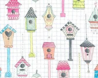 Michael Miller Tweet Me Haze Love Shack Birdhouses Fabric - 1 yard
