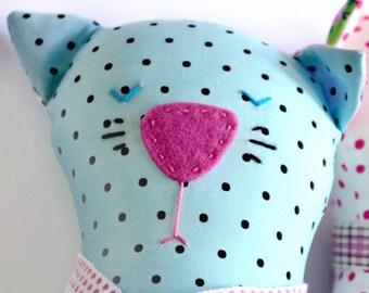 Cat Plush Toy, Handmade Cat Softie, Soft Toy Cat, Stuffed Animal, Girl Cat Doll, Handmade Doll, Cat, Kids Decor, Kids Toy, Baby Gift, Xmas
