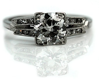 Vintage Diamond Ring 1.24ctw Estate Art Deco Diamond Ring Platinum 1930's Vintage Engagement Ring Antique Engagement Ring 6.5!