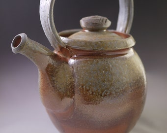 Grey, Tan, and Gold Woodfired Teapot (TRP15-31)