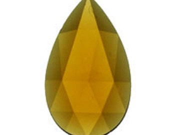 40x24mm Light Amber Teardrop Faceted Flatbacked Glass Jewel for Stained Glass