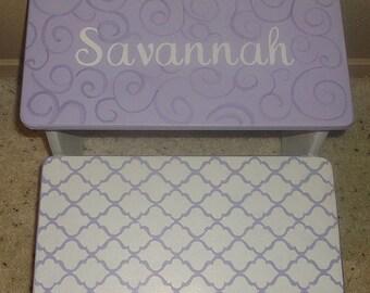 Lavender,Nursery decor, Steps & Stools, Kids Furniture, Wooden Step Stool, Bathroom Stool