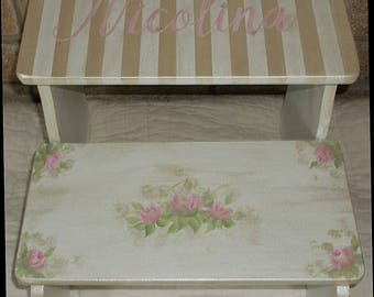 Steps & Stools, Kids Furniture, Pink Floral, childs stool, BENCH, Bathroom Stools, Nursery, Personalized. Vintage, Gold,Roses