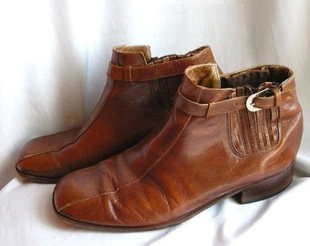 ON SALE Vintage 1970's Brown Leather Mens Ankle Boots 9.5 Medium Shoes 10 Harness Slip-In