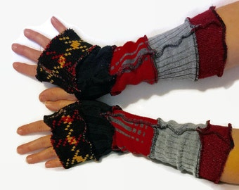 Upcycled Fingerless Gloves Black Red Grey Armwarmers Recycled Wrist warmers Stripe Gloves Knit Gloves Fingerless Mittens