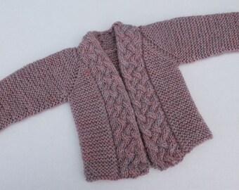 Hand Knit Baby Girl Cardigan. Wool Baby Cardigan. Natural Heather Baby Cardigan. Cabled Baby Girl Sweater.