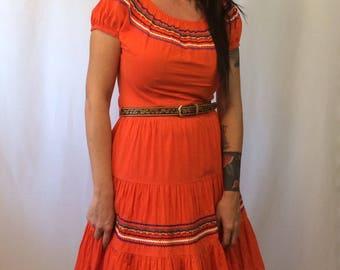 Vintage 1950's Patio Squaw Dress  // Ladies Small Western Dress //Ethnic Boho Cotton Rick Rack
