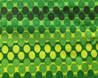 Funky Vintage 60s Green Dacron Polyester Cotton Fabric Textile Mid Century Modern Craft Material Sixties