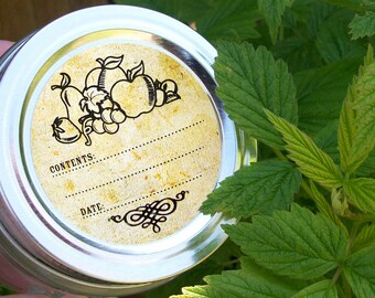 Vintage Fruit canning jar labels, round regular & wide mouth mason jar labels, fruit preservation stickers, preserves jam jelly jar labels