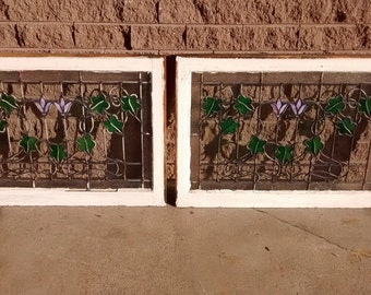 Stained Glass Window; Pair of Antique Windows; Salvaged Stained Glass Windows; Original Stained Glass Windows; Window; Windows