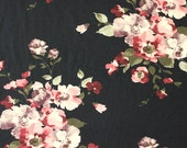 Black Burgundy Deep Purple and Cream Floral Brushed Poly Spandex Knit, 1 yard
