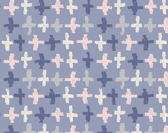 Blue Peach and White Geometric Plus Cross Fabric, Wonderful Things by Bonnie Christine for Art Gallery Fabric, Joy Crossroads, 1 Yard Cotton