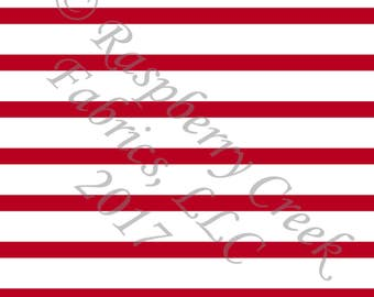 Red and White Stripe 4 Way Stretch Jersey Knit Fabric, Club Fabrics