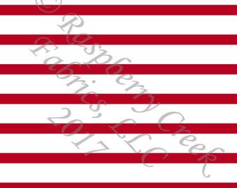 Red and White Stripe 4 Way Stretch Jersey Knit Fabric, Club Fabrics