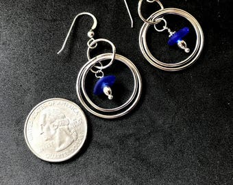 Sterling Sea Glass Earrings - Lake Erie Beach Glass Earrings - Cobalt Blue Earrings - Lake Bottle Earrings - FREE Shipping inside the US