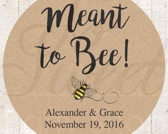 Meant To Bee Rustic Wedding Favor Stickers, Bridal Shower Favor Labels, Personalized Stickers, Bachelorette Party Favors, Kraft - Set of 24