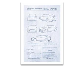 Tesla Model S Patent Art Giclee on archival matte paper