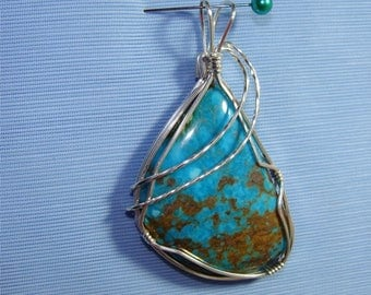 Med to Large TURQUOISE Stone Handmade and STERLING SILVER Wire Wrapped by Me