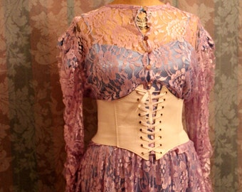 Sz M-L Purple Vintage Lace Dress 2-piece Set with Blouse
