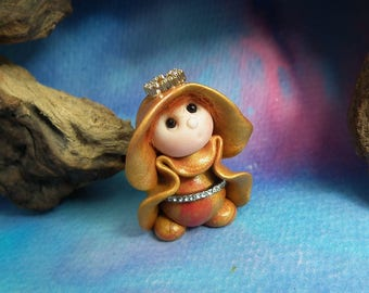 """20% off with Coupon Code: MICROGNOME20 Tiny 'Amber' Princess Gnome with jewels 1+1/2"""" by Sculpture Artist Ann Galvin Art Doll"""