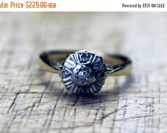MAYSALE Antique Diamond Engagement Ring Art Deco 1920s Vintage Yellow Platinum 18ct 18k 750 18kt | FREE SHIPPING | Size L.5 / 6