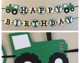 Green and yellow Tractor Happy Birthday Banner Ready to ship farm birthday party decorations
