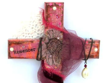 Mixed Media Wall Cross Decoupaged Catholic Christian Art Religious Gift Crucifix Word Remember Easter Mothers Day Gift for Mom
