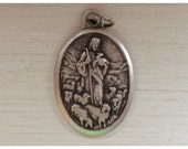 5 Patron Saint Medal Findings, Good Shepherd, Jesus, Die Cast Silverplate, Silver Color, Oxidized Metal, Made in Italy, Charm, Drop