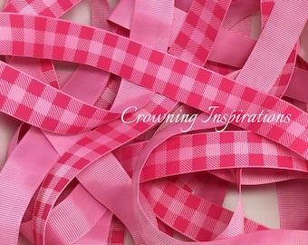 7/8 PLAID Shocking Pink / Geranium Pink  US Designer Ribbon