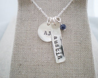 kids names and birthstone necklace | children's stamped name tags | gift for her mommy necklace | gemstone necklace | push present