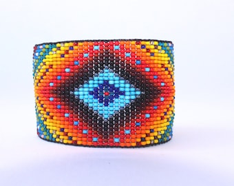 NEW DESIGN -Huichol Inspired Contemporary Rainbow Mandala Beaded Bracelet  4