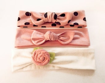 Baby Headband Set Pink Stretch Knit Headband Gift Set Dusty Pink Ivory and Black Headband Set For Baby or Toddler