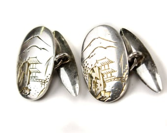 vintage pagoda cuff links • 1940s sterling silver menswear accessory