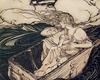 Danae, Arthur Rackham, Vinatge Art Print